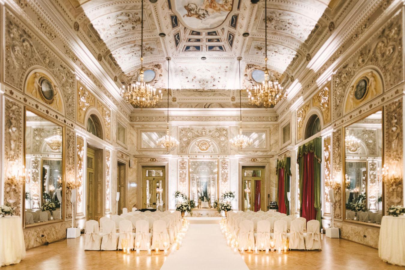 Luxury destination indoor wedding ceremony at Hotel St. Regis Florence
