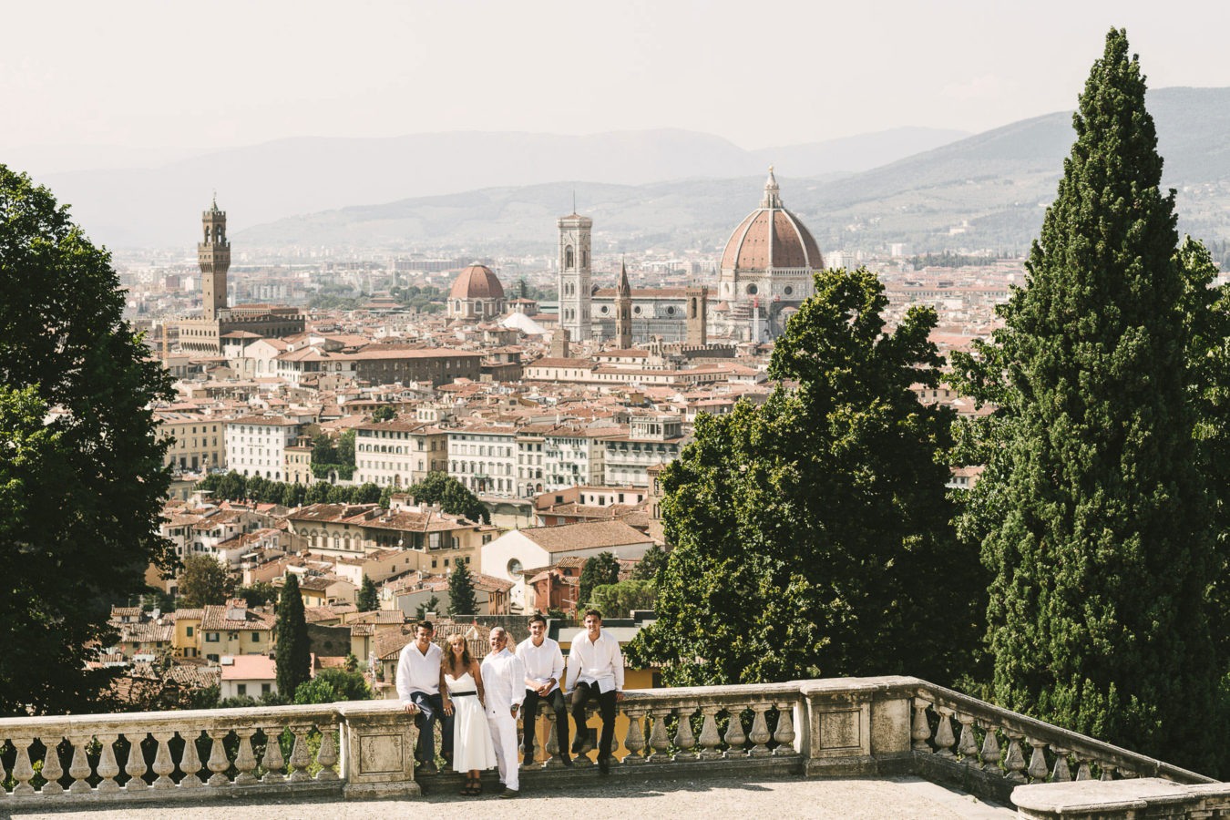 Lovely vacation family photo tour in Florence panoramic site of San Miniato al Monte near Piazzale Michelangelo
