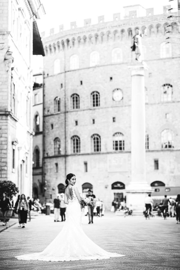 Gorgeous bridal portrait in Florence historic center destination wedding in Florence at Belmond San Michele