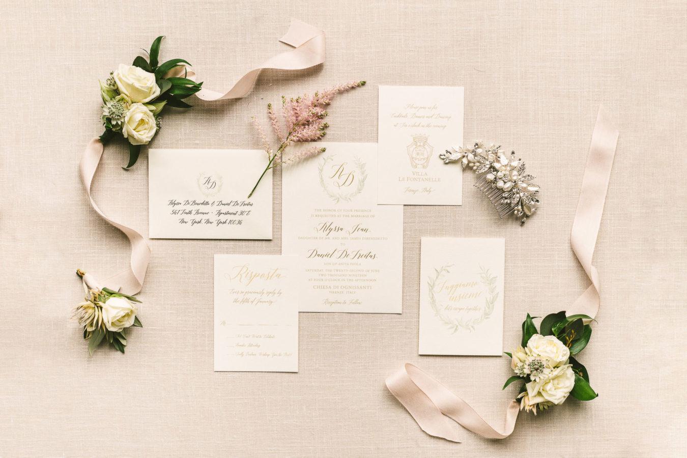 Elegant wedding details stationery Villa Le Fontanelle destination wedding Florence