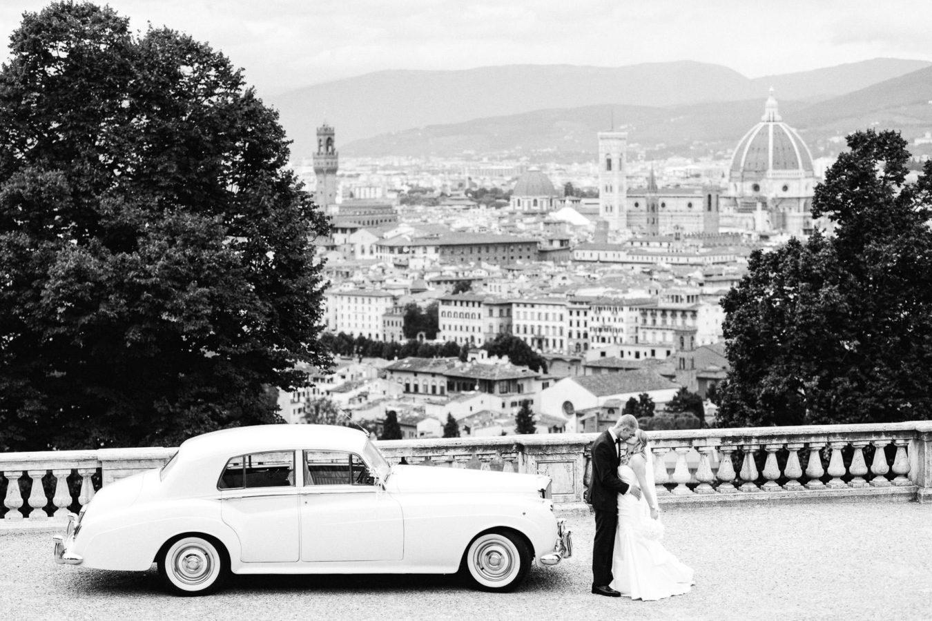 Elegant classic destination wedding in Florence Vintage car Rolls Royce breathtaking Florence view