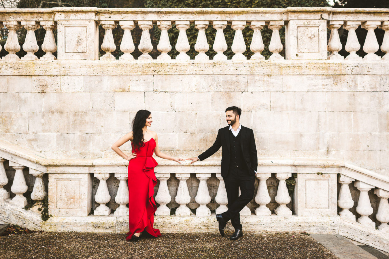 Intimate and lovely indian couple portrait pre-wedding photo shoot in Florence at San Miniato al Monte near Piazzale Michelangelo