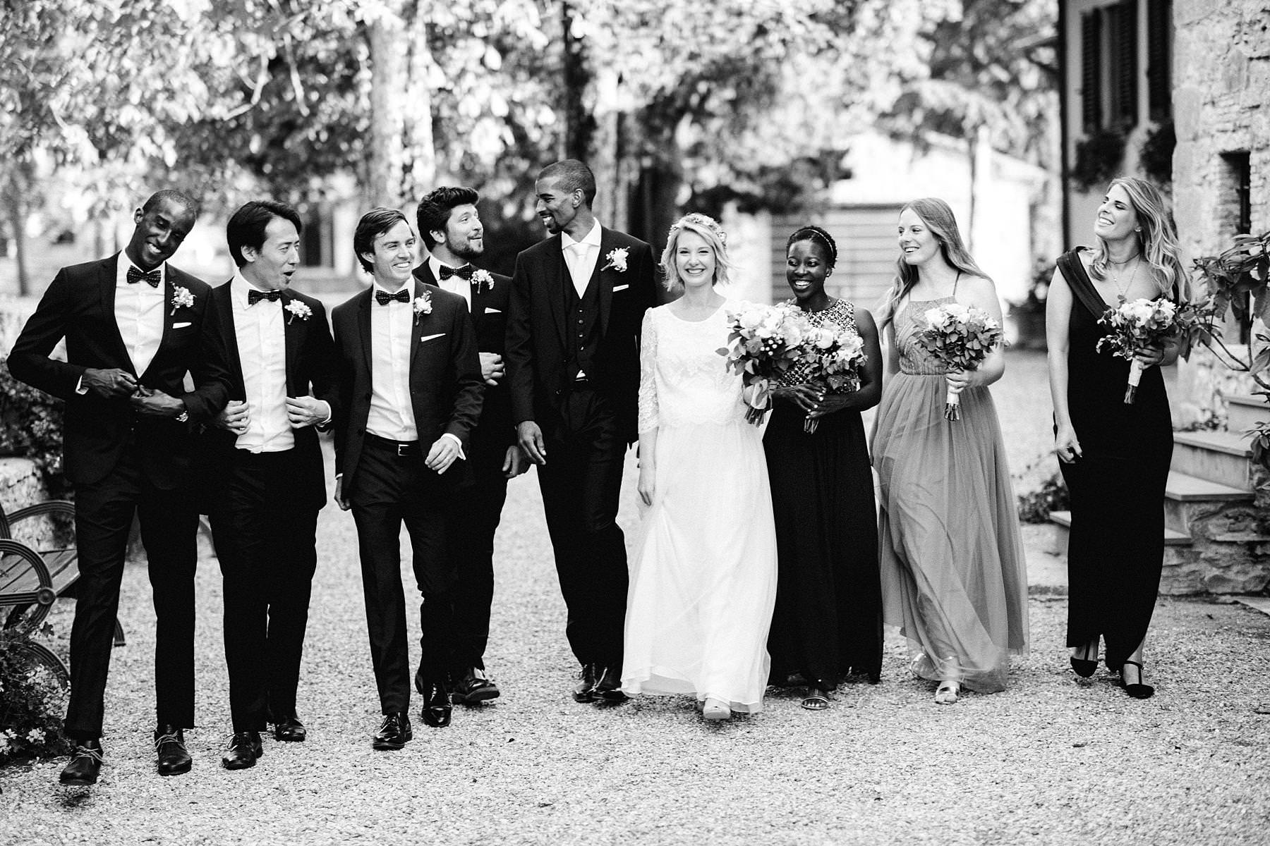Wedding party lovely group shoot at Montelucci Country Resort destination wedding in Tuscany