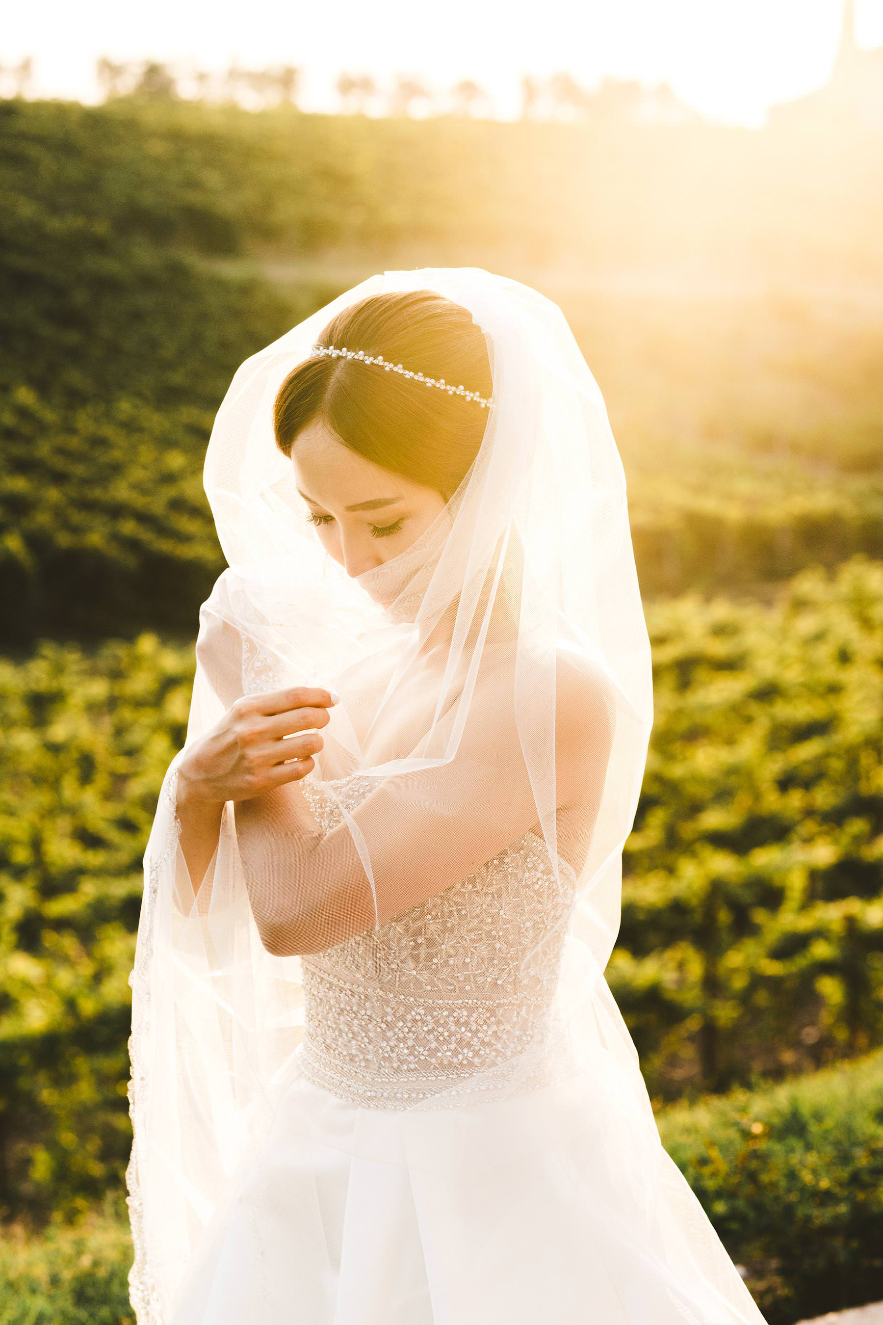 Lovely bridal portrait around the vineyard surrounding Castello Il Palagio a typical scenery of Chianti in Tuscany. Bride in Maggie Sottero elegant gown