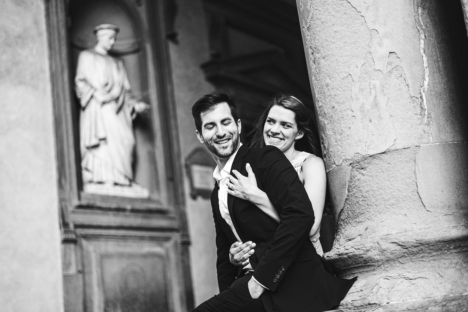 A sunset photoshoot to cherish your engagement forever. Exciting and fun couple portrait photo in the heart of Florence