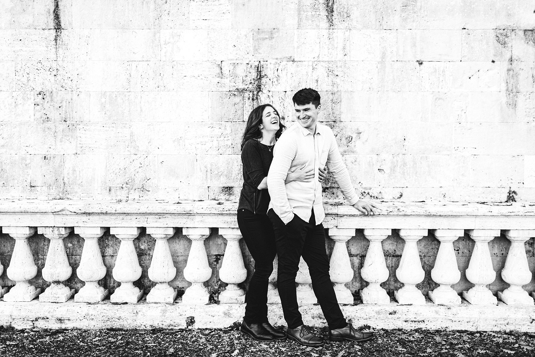 Creative, exciting smiling engagement photo shoot in Florence at San Miniato al Monte the most iconic panoramic spot of Florence