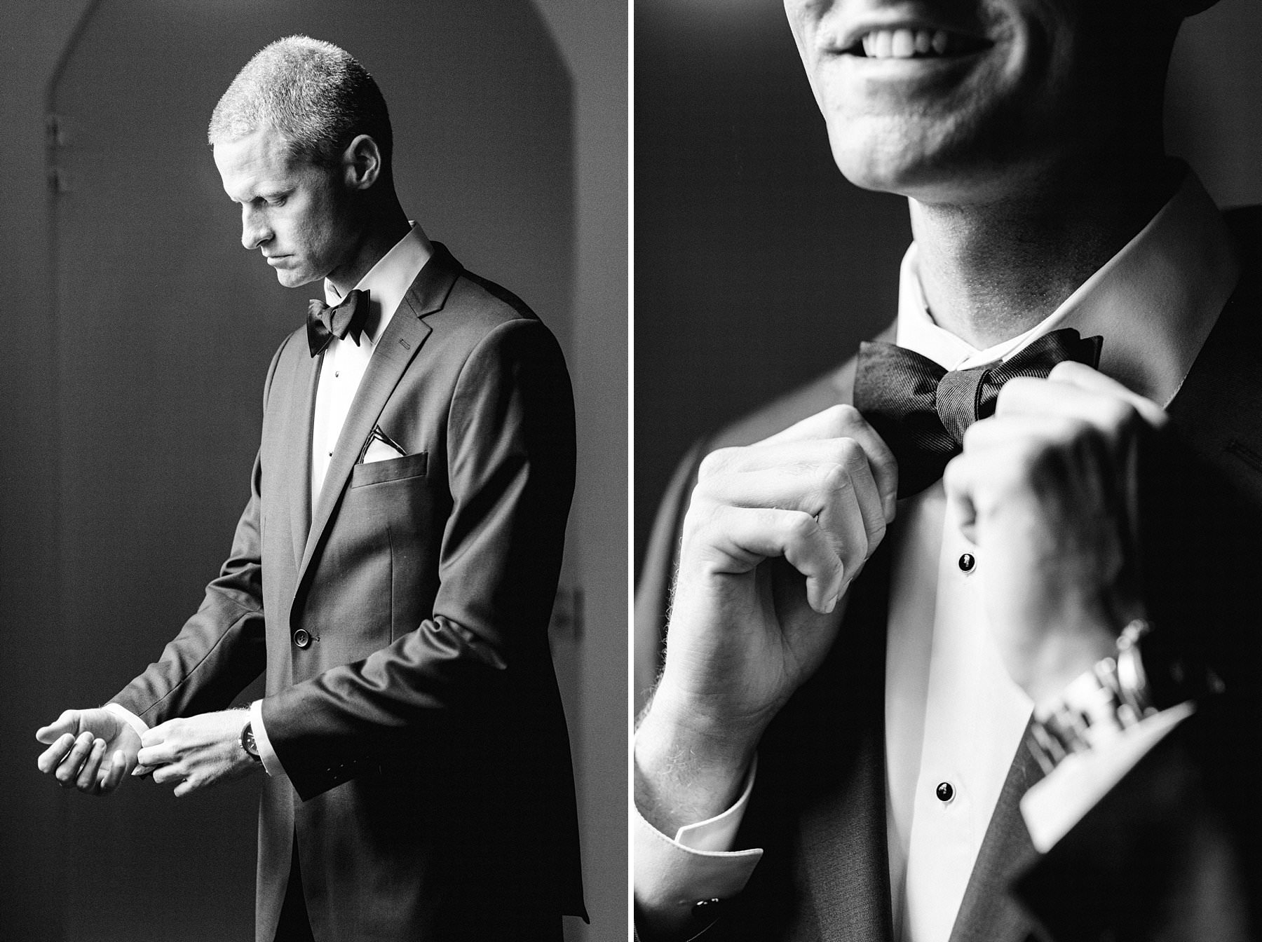 Elegant groom Evan get ready at Grand Hotel Cavour in Florence before the intimate destination wedding ceremony at Palazzo Gondi near Palazzo Vecchio in the very heart of Florence
