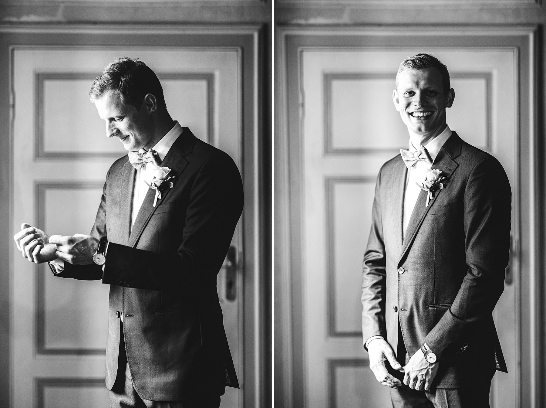 Lovely and elegant groom portrait during preparation at Villa Monte Solare tucked in the countryside among rolling hills. International destination wedding in Umbria