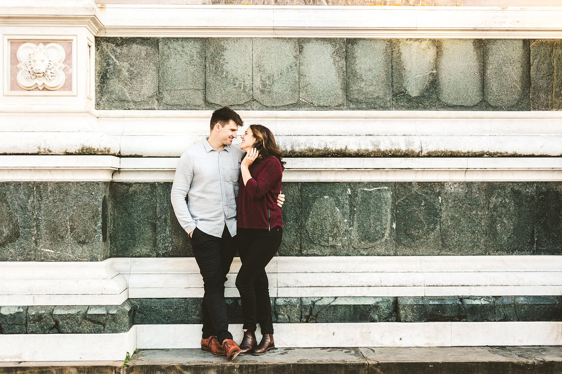 Claudia and Andrew's romantic engagement photo session at Piazza Santa Croce in the heart of Florence