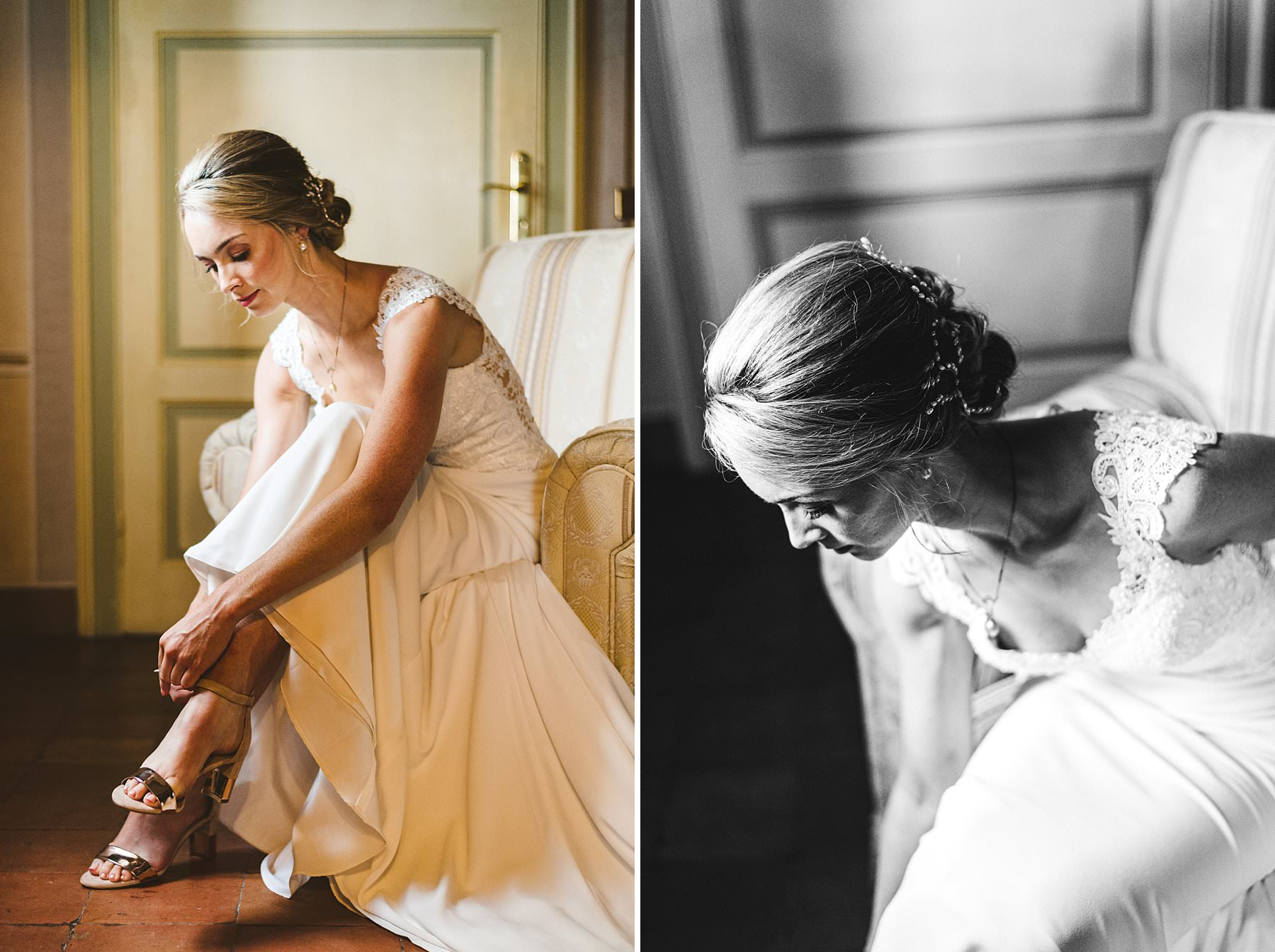 A special international wedding in the countryside of Umbria, Italy. Beautiful and elegant Australian bride Jennifer finish her preparation at Villa Monte Solare