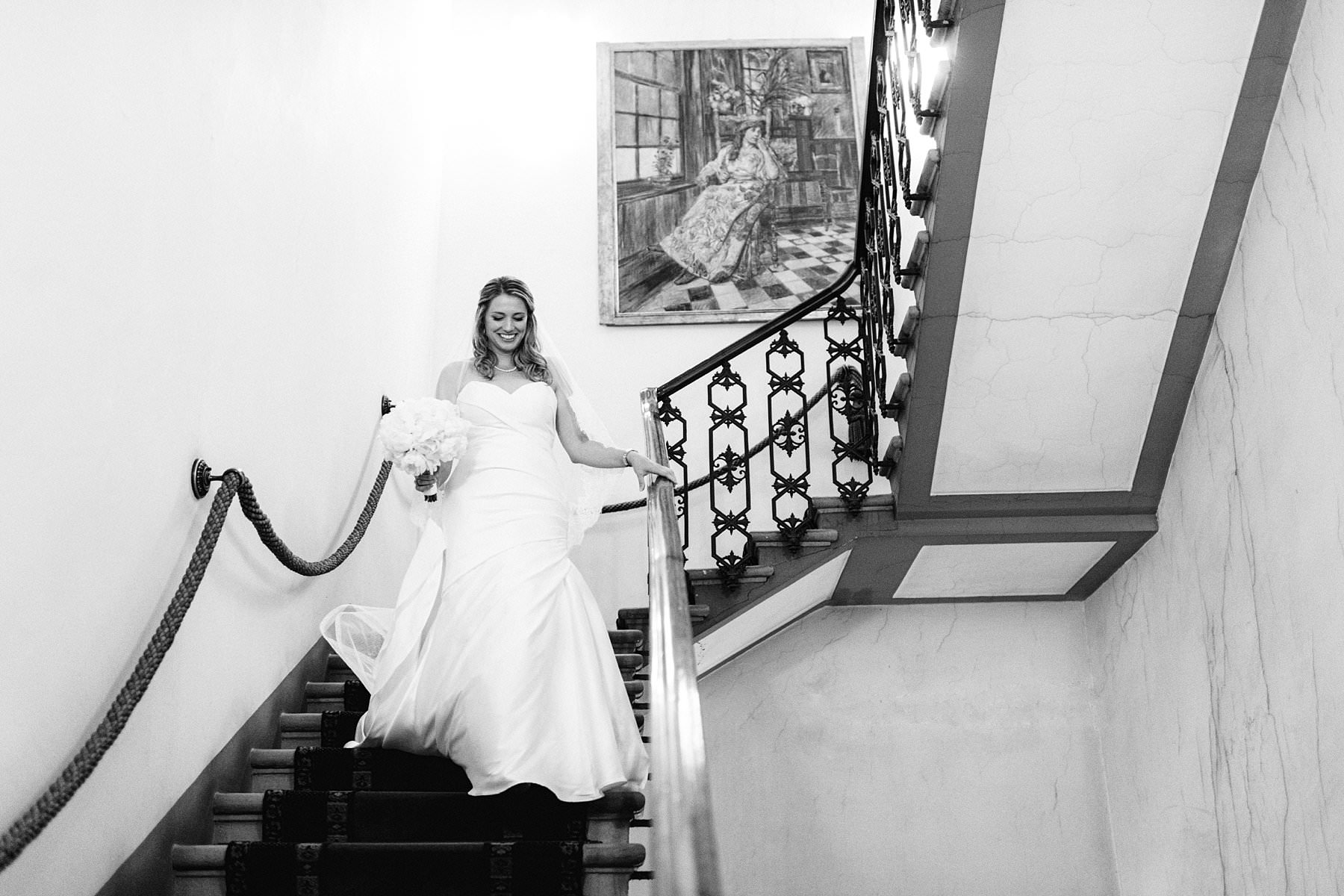 Palazzo Gondi and Grand Hotel Cavour, the best of Florence. Beautiful bride Beth just walks down the main staircase of Grand Hotel Cavour in Florence to go at Palazzo Gondi for her intimate destination wedding ceremony