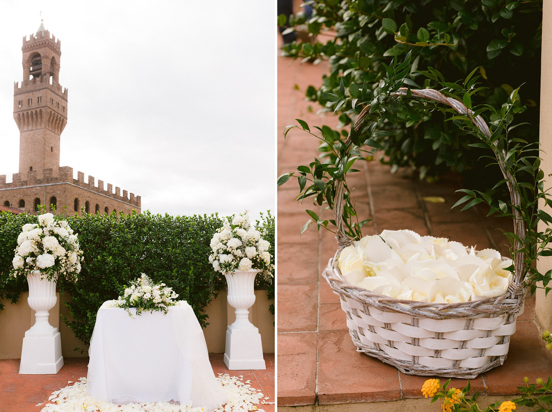 Intimate exquisite wedding in the heart of Florence, Italy. Gorgeous real wedding ceremony decors at Palazzo Gondi, one of the most renowned Renaissance palaces in Florence, and it's open to guests only on special occasions. A real hidden treasure located in the very heart of the historical center, next to Palazzo della Signoria. It's no surprise that the terrace – that hosted the wedding ceremony – offers an incredible view of the Duomo and Palazzo Vecchio