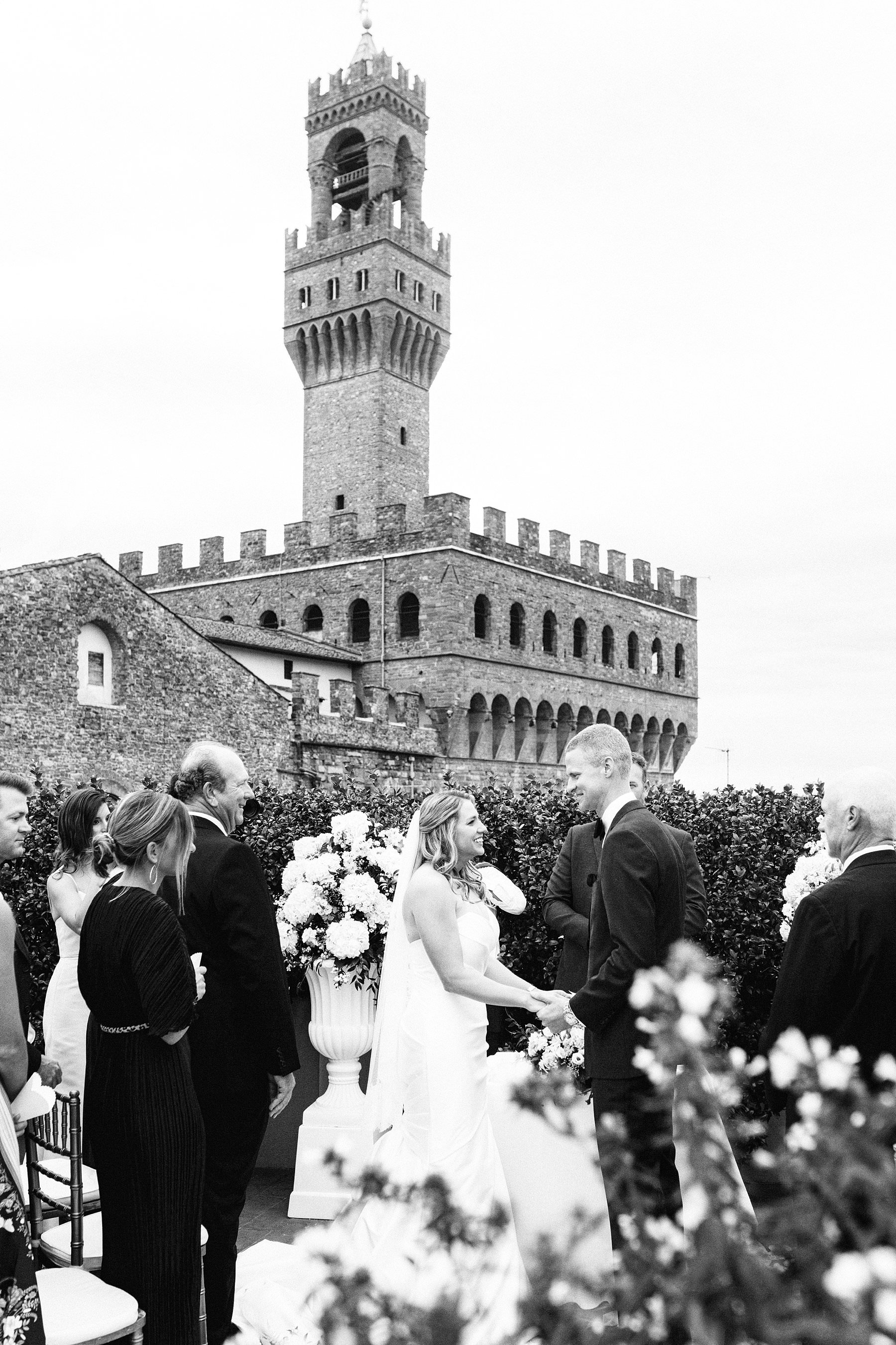 Intimate exquisite wedding in the heart of Florence, Italy. Lovely intimate exclusive wedding ceremony at the breathtaking top terrace of Palazzo Gondi which offers an incredible view of the Duomo and Palazzo Vecchio
