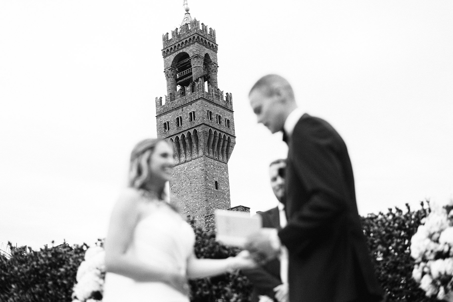 Beth and Evan's exquisite wedding: just like a dream. Lovely intimate exclusive wedding ceremony at the breathtaking top terrace of Palazzo Gondi which offers an incredible view of the Duomo and Palazzo Vecchio