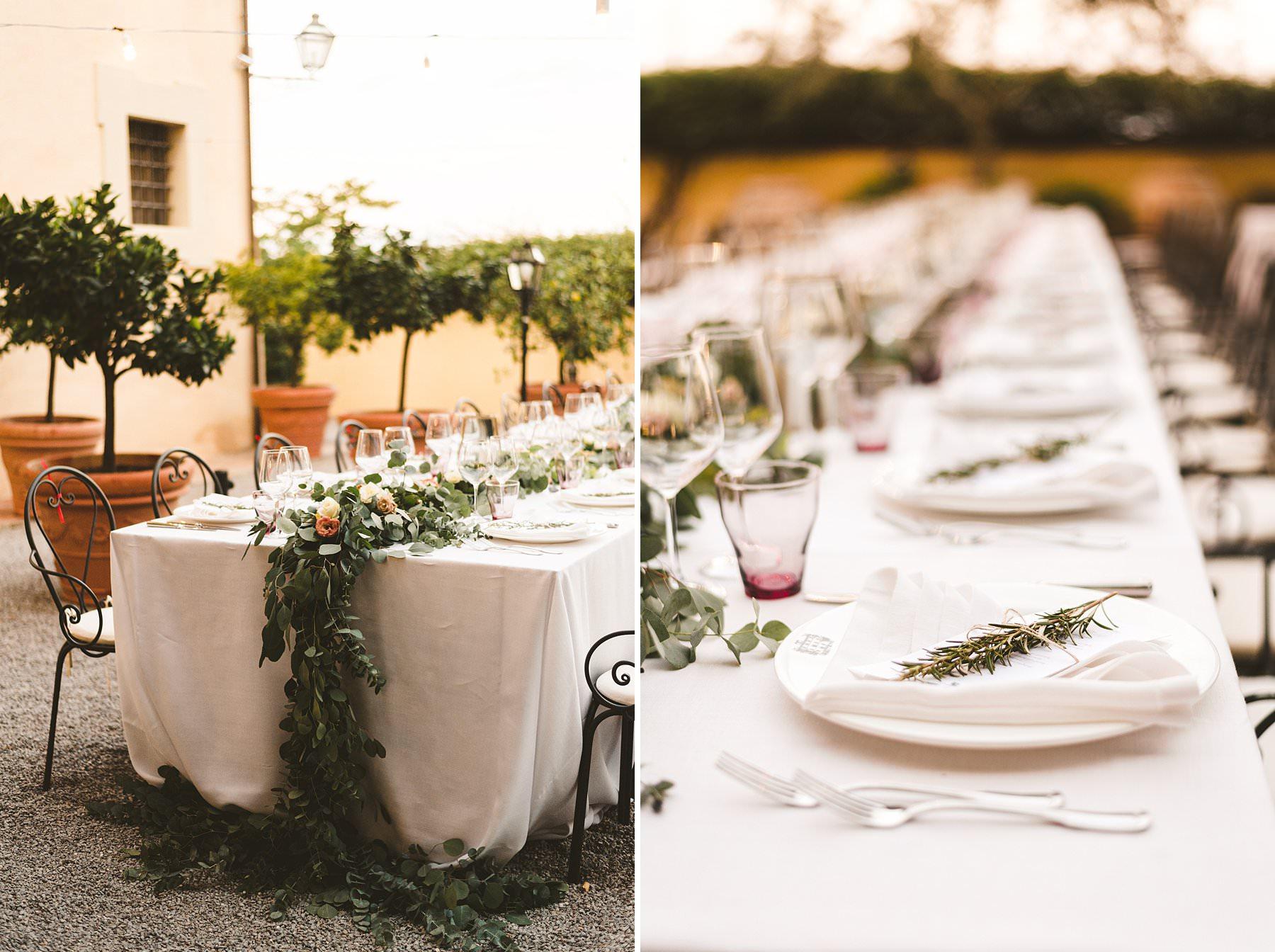 Lovely wedding dinner setup at Villa Monte Solare for an international Australian wedding in Italy