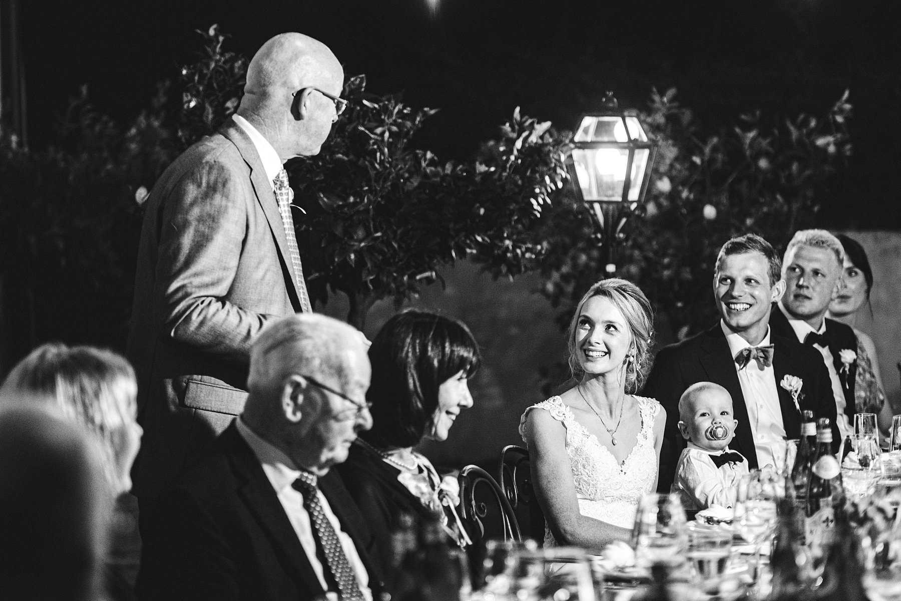 Emotional speeches during wedding dinner for this Australian international destination wedding at Villa Monte Solare in Umbria