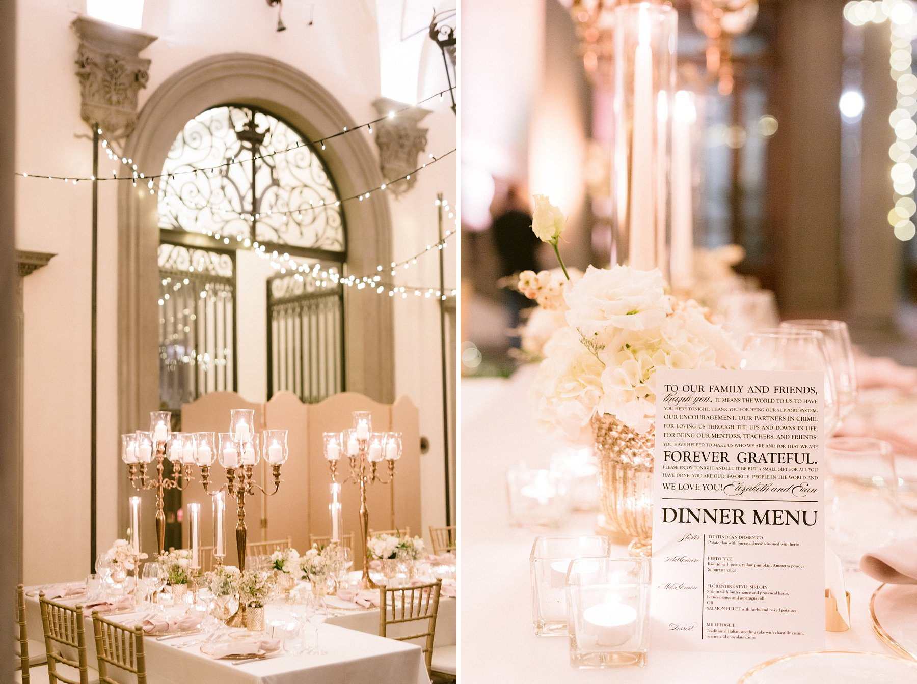 Intimate exquisite wedding in the heart of Florence, Italy. This beautiful American couple opted for the most elegant and exclusive venue for their exquisite wedding: Palazzo Gondi, where the ceremony and the elegant and luxury reception took place. The sumptuous dinner decor in the courtyard, surrounded by a colonnade a perfect location for a memorable event and for photos that capture all the feelings that go with it