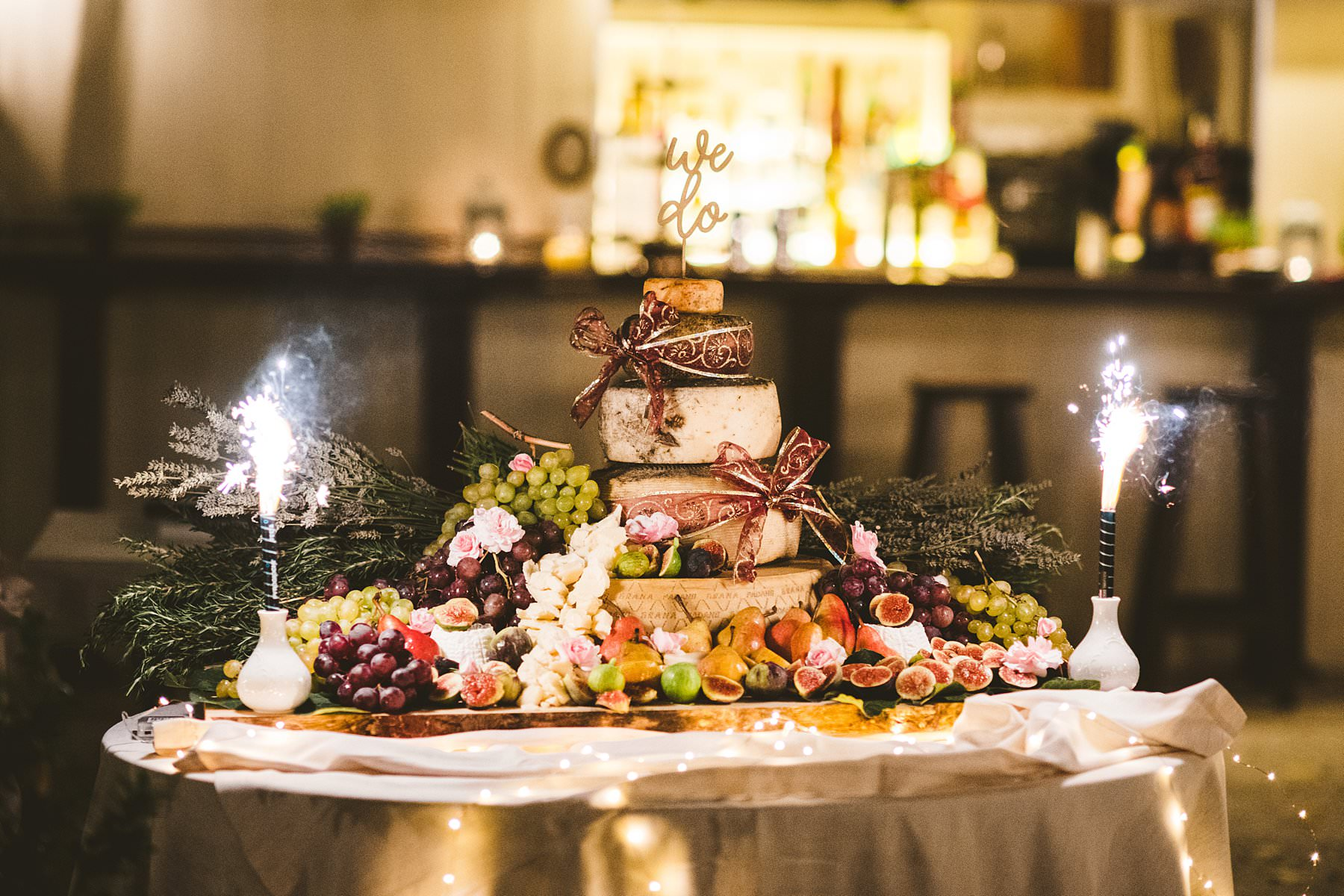 Special wedding cake made of cheese at Villa Monte Solare, Umbria