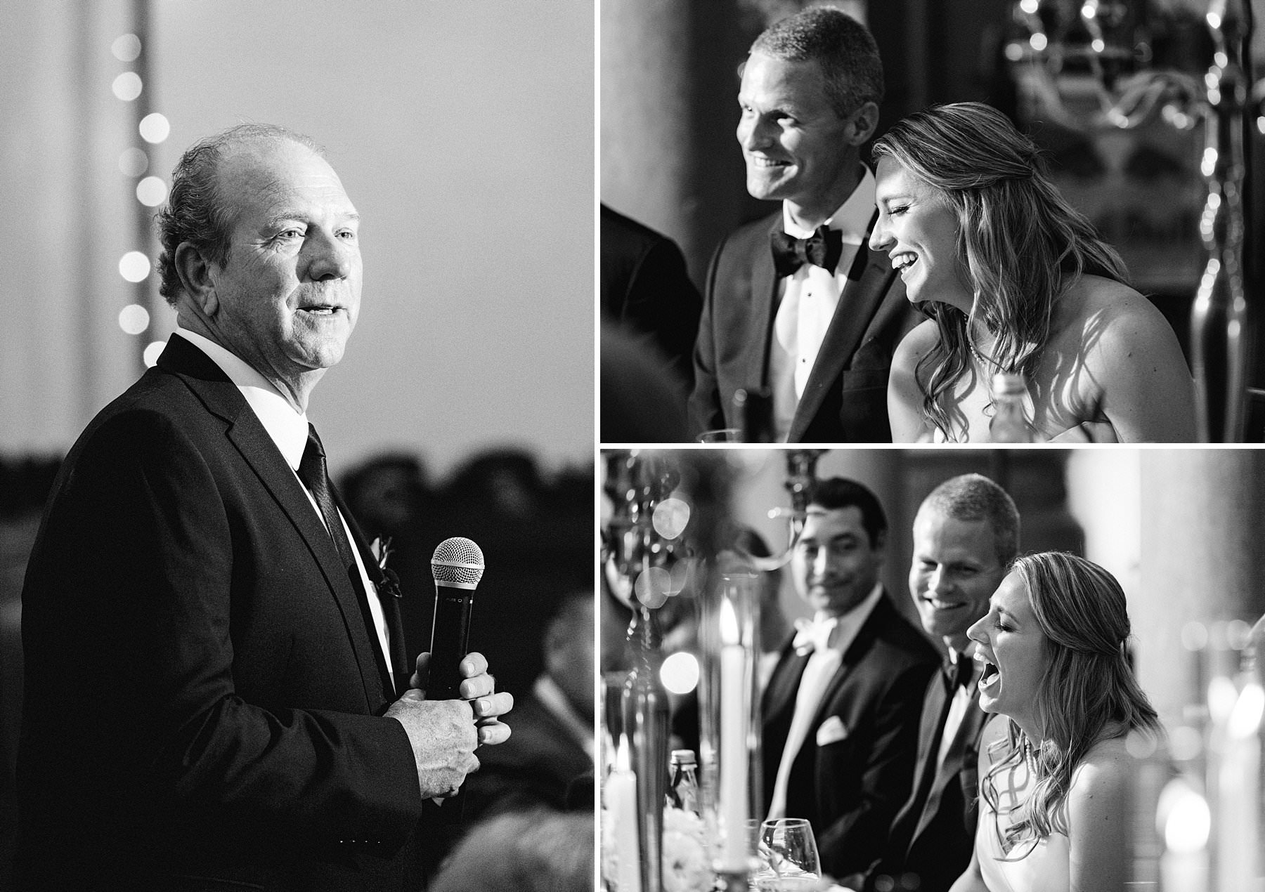 Intimate luxury destination wedding in Florence at Palazzo Gondi. Emotional speeches during reception dinner