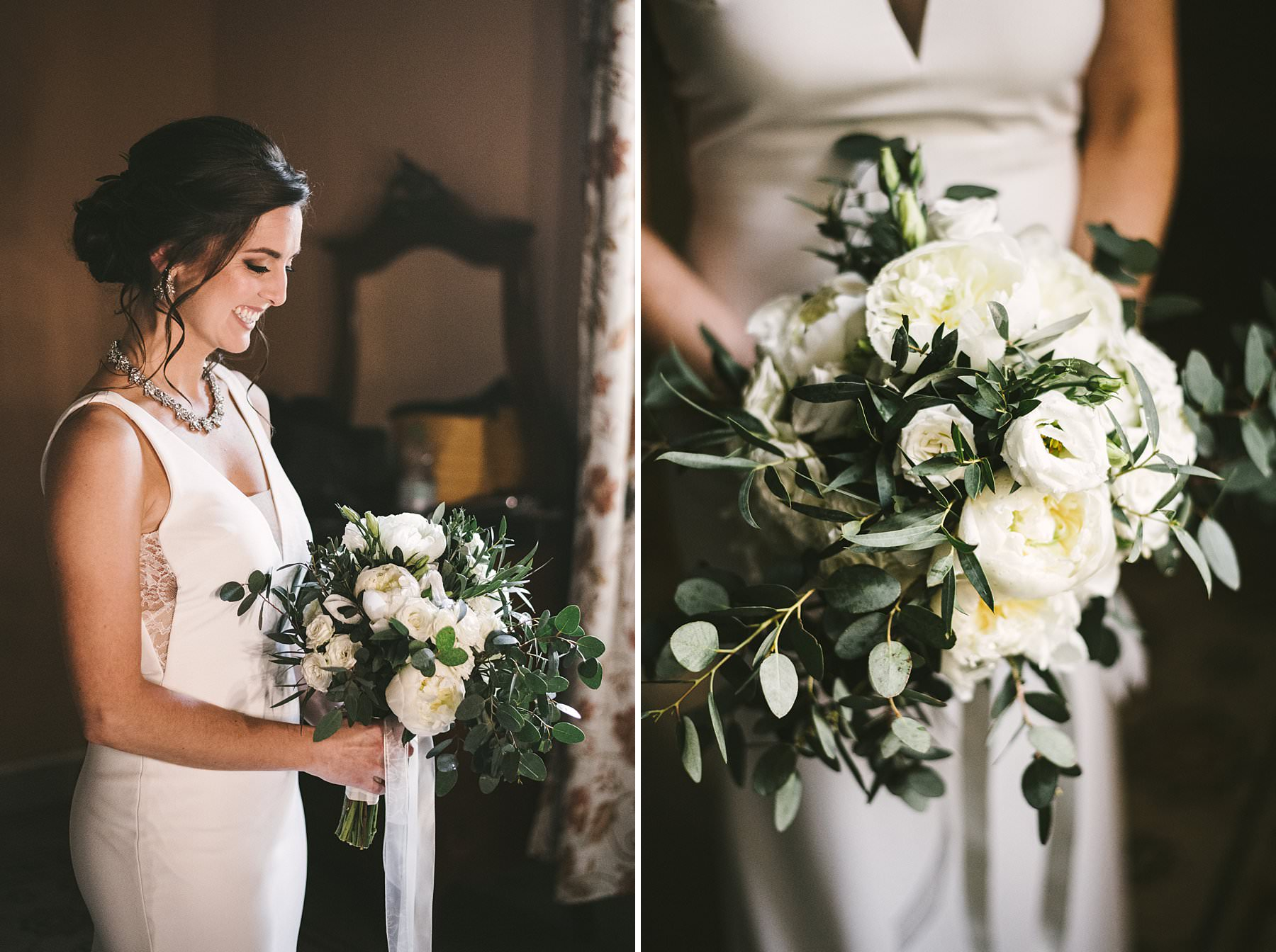 Lovely bride Katrina almost ready to walks down the aisle. Intimate destination wedding in Valdarno, Tuscany at Palazzo Vanneschi in Bucine