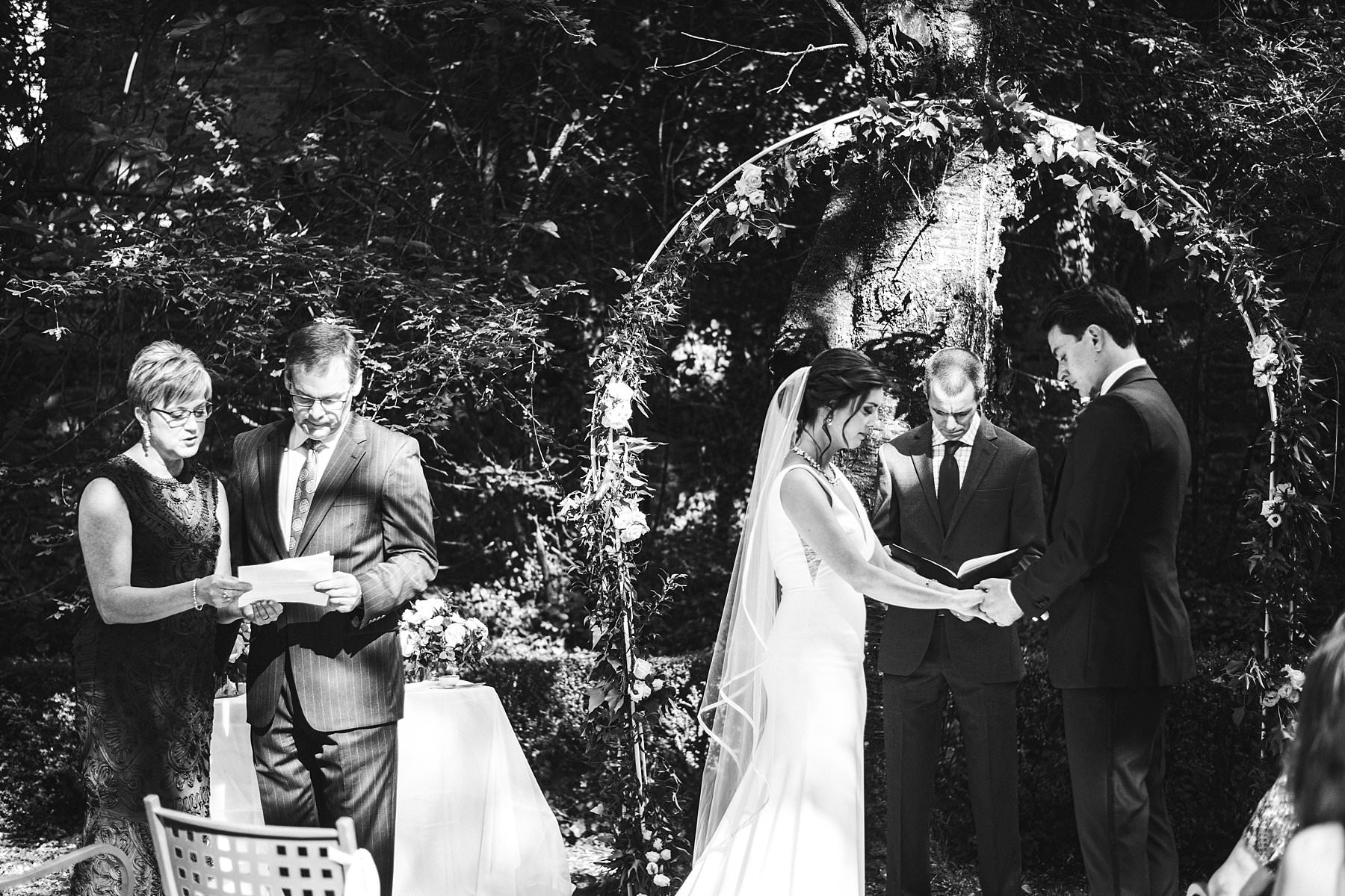 Lovely moment during symbolic destination wedding intimate ceremony at Palazzo Vanneschi Villa Cini in Bucine