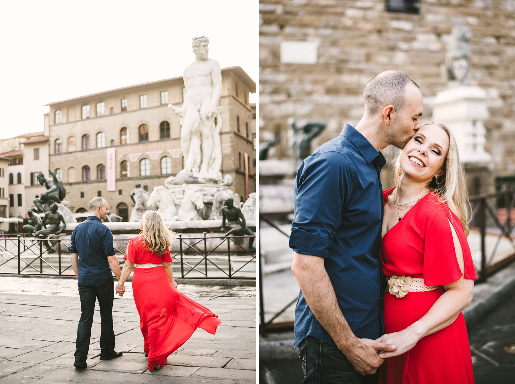 Anisa and Kevin's delightful anniversary photos. We strolled the streets of the city, during a session that lasted almost three hours and touched all of the most iconic spots: from Piazza della Signoria to the Uffizi Gallery, from Palazzo Gondi to Piazza S. Firenze, from Ponte Vecchio to Piazzale Michelangelo. The latter is a truly enchanted place from which you can enjoy a breathtaking view of the city: the most wonderful photo setting anyone could ask for