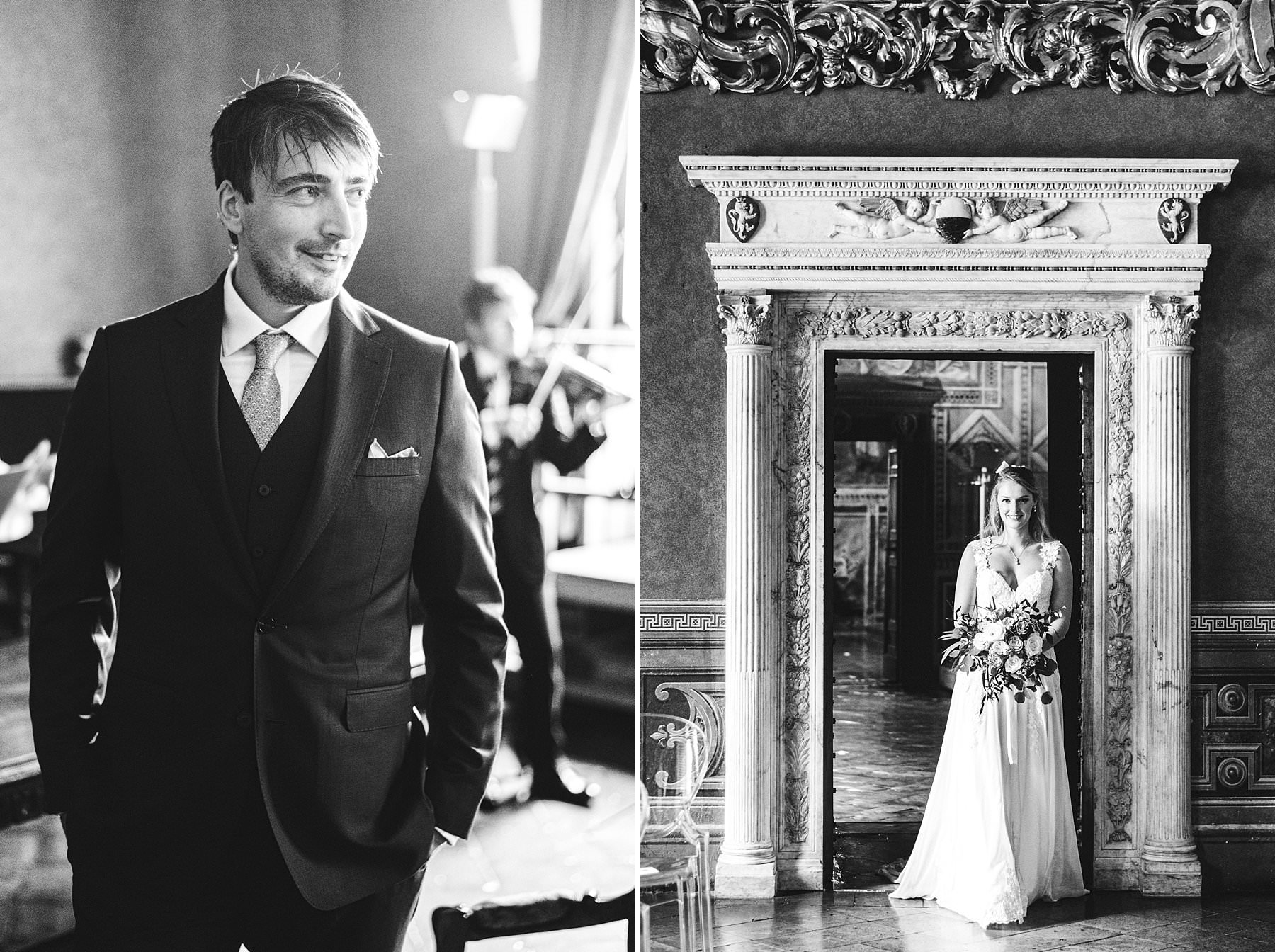Beautiful and emotional bride and groom first look in the Town hall in Siena at Concistoro room. Destination elopement wedding in Tuscany