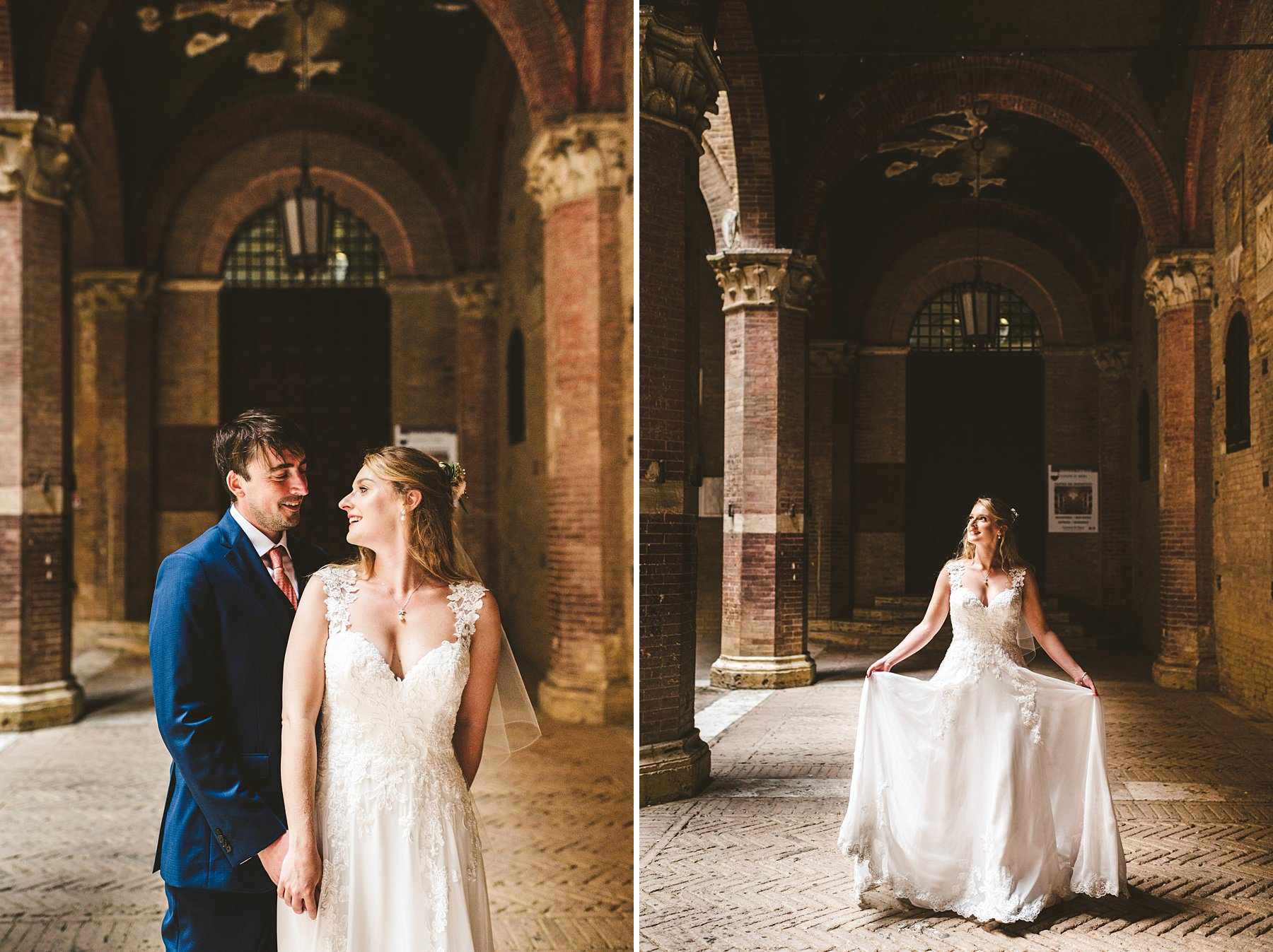 Lovely bride and groom elopement wedding portrait at Siena Town Hall
