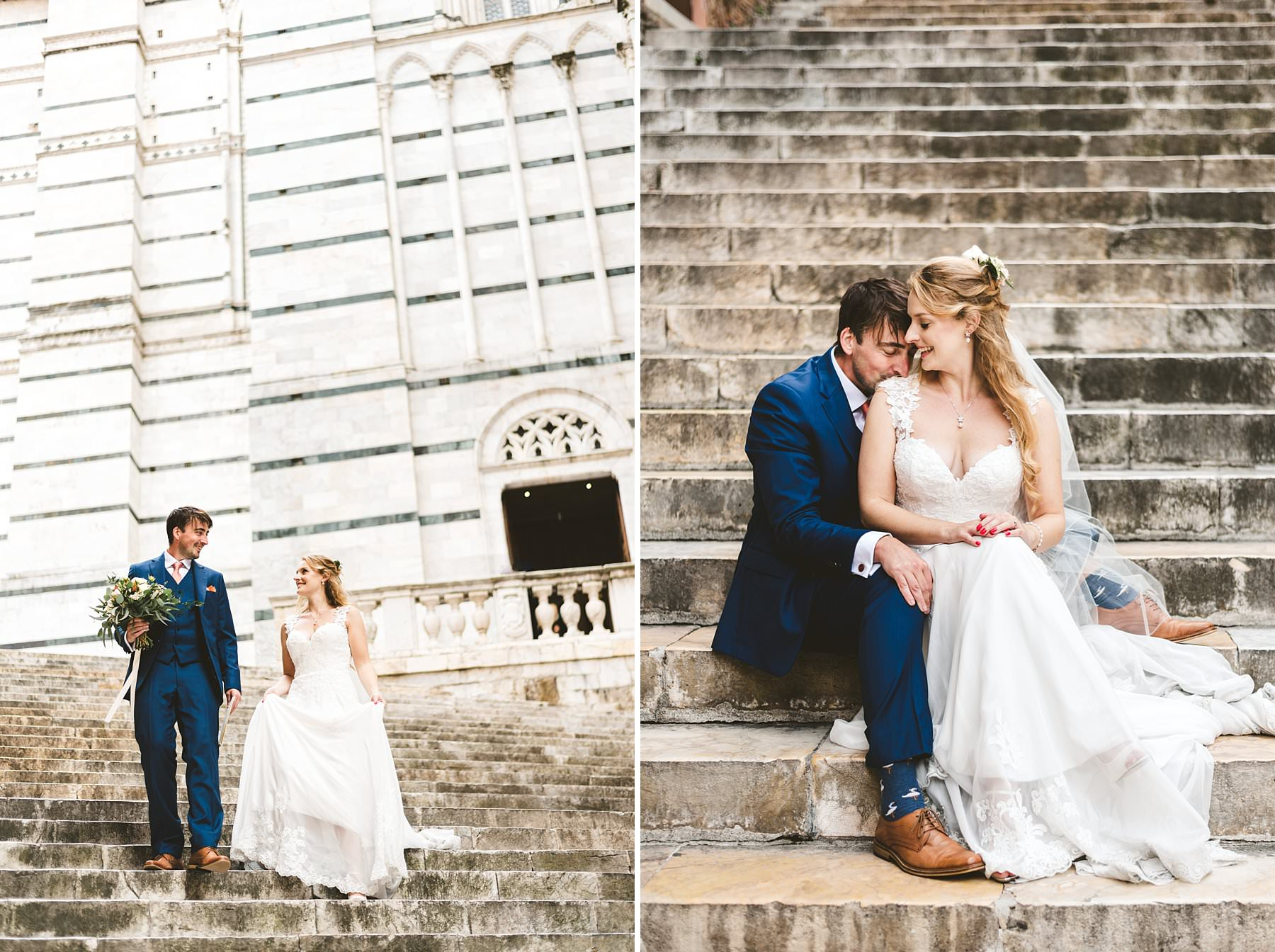 Lovely and elegant couple get married in Tuscany at Siena one of the most charming city in Tuscany. Bride and groom walk tour photo shoot in the streets of the city near the Duomo