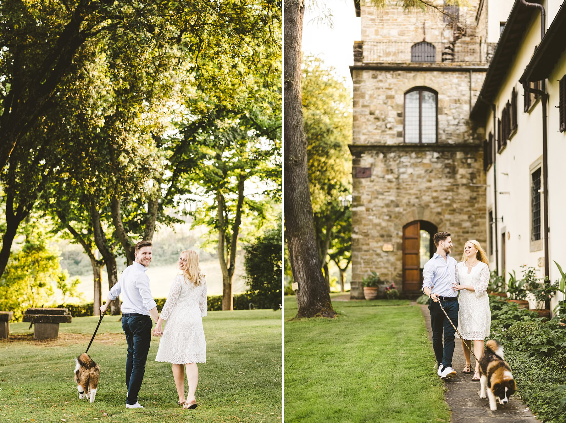 Engagement photo with a wonderful furry friend at Poggio Tre Lune in the heart of Tuscany, a perfect location to enjoy time with your loved partner