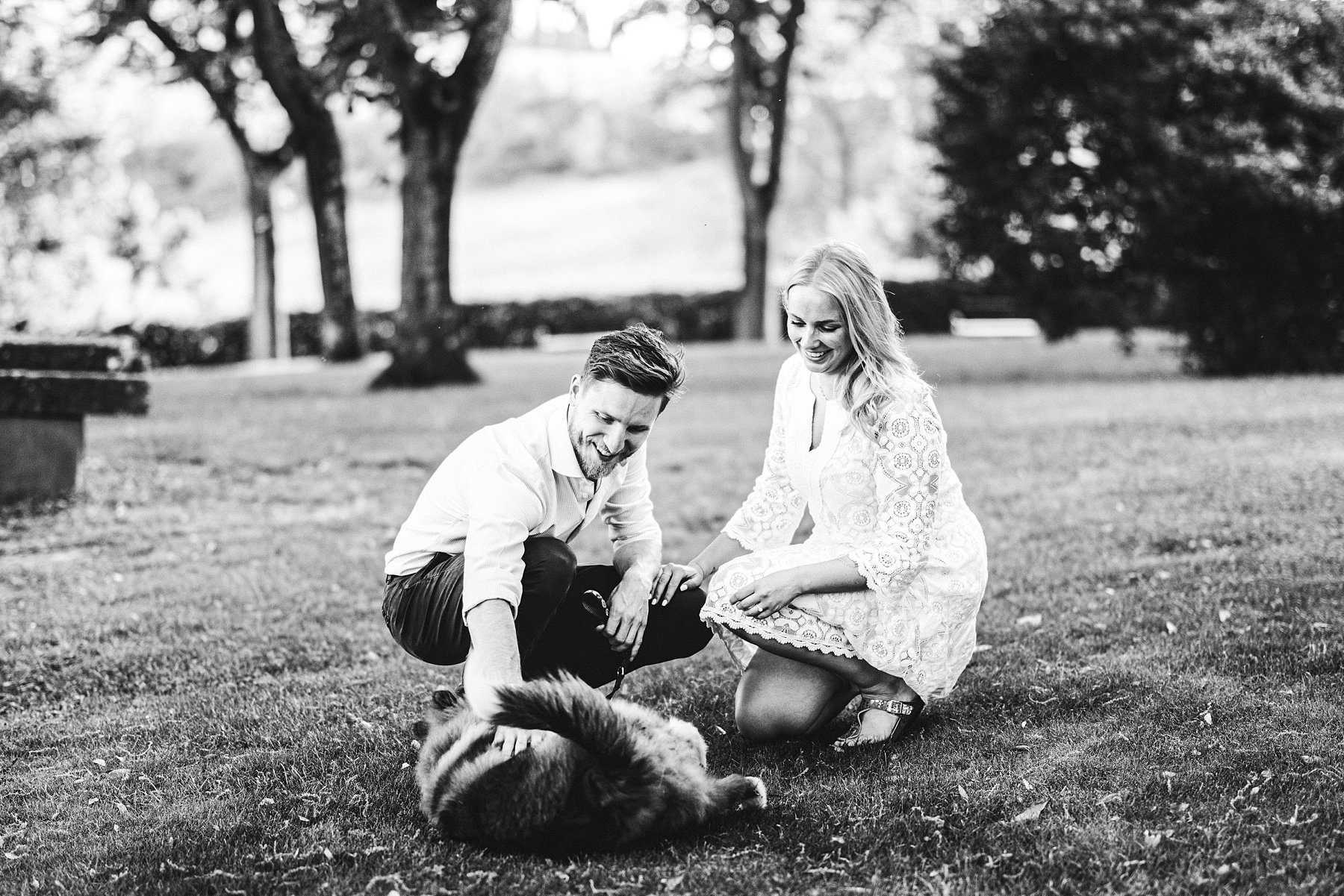 Engagement photo with a wonderful furry friend at Poggio Tre Lune in the heart of Tuscany