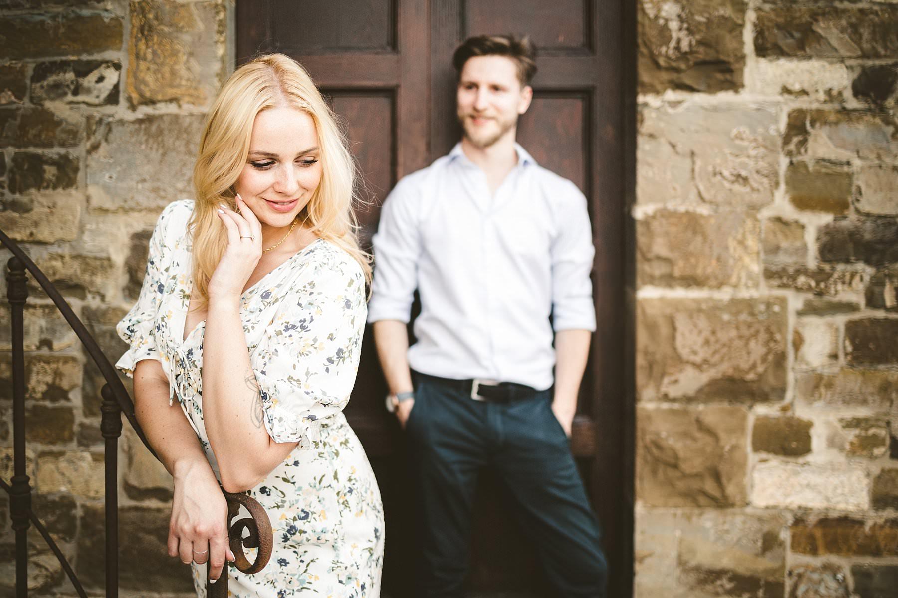Elegant couple portrait during engagement photo shoot in Tuscany at Poggio Tre Lune