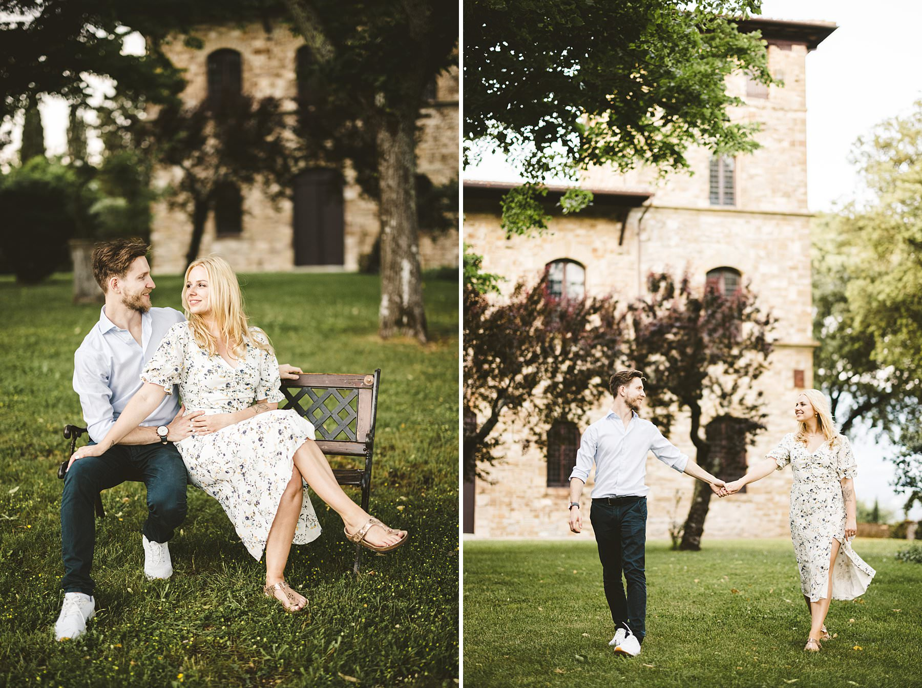 Candid couple engagement session in the countryside of Tuscany at Poggio Tre Lune near Florence